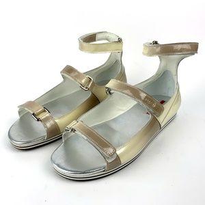 Prada, Cream Nude Sandals with Ankle Fastening